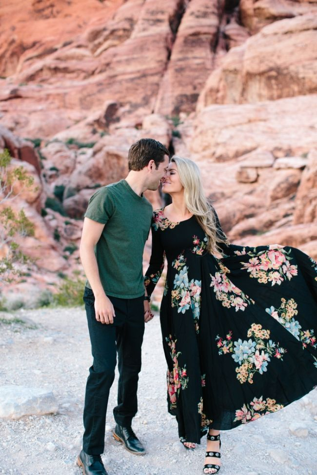 I'm absolute dying over this adorable engagement shoot by M. felt  Photography. Not only is the couple super cute, but their style is killer,  and it fits in perfectly with the natural beauty of Nevada's Red Rock  Canyon National Park. See below for some totally swoon-worthy shots.   Congratulations on your engagement, Jackie and Danny!