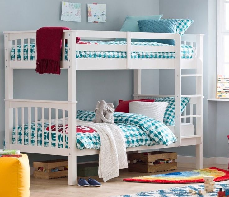 White Wooden Bunk Bed Single Frame Kids Room Twin Convertible Bedroom Furniture