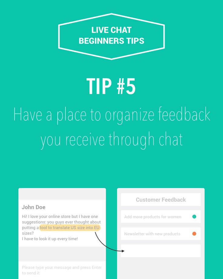 Live chat beginners tip #5: Have a place to organize feedback you receive  through