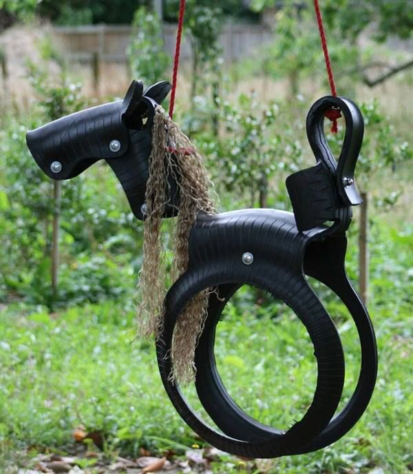 DIY Horse Tire Swing! Now, I had a swing when I was a kid, but it usually had hornets living inside & we always had to dump out water before we could swing in it... This is just Awesome!