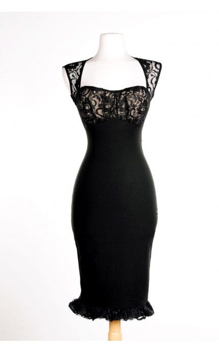 $96 Pinup Girl Clothing- Micheline Dress in Black Bengaline with Black Lace