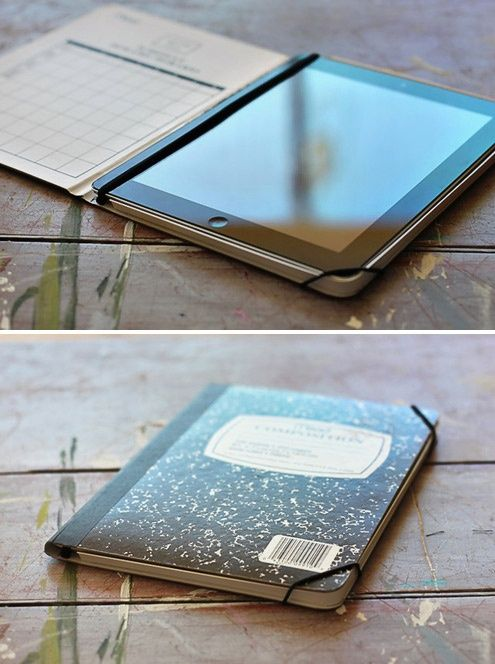 DIY How to Make a Stylish iPad Case from a Notebook. Easy. You could do this so many different ways too. With construction paper on the outside of the composition book of even with paint.
