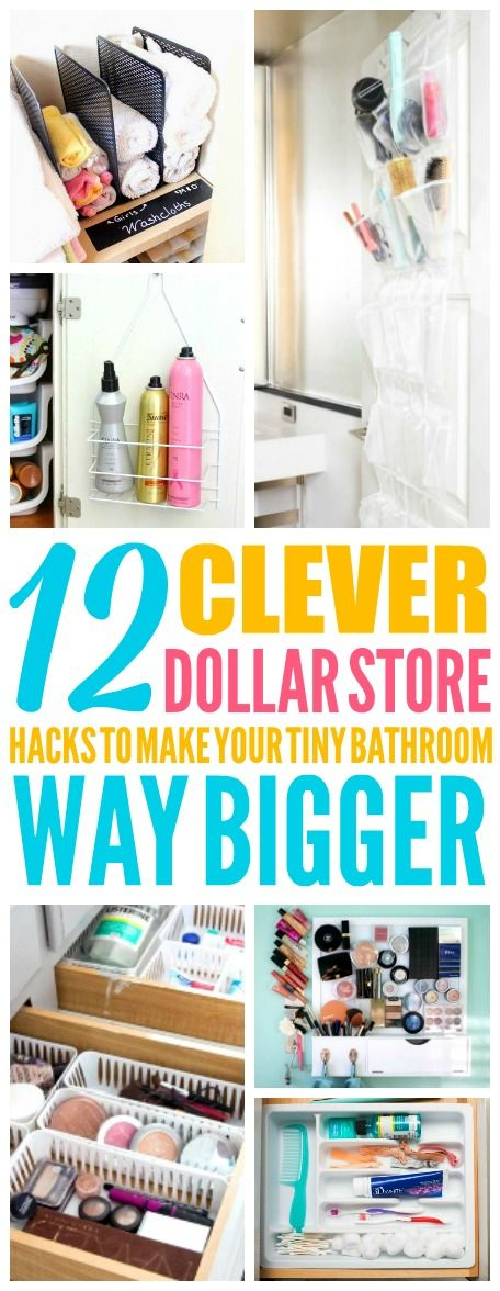 These Dollar Store Organization Hacks are THE BEST! I'm so glad I found these AWESOME tips! Now I have some smart ways to organize my small bathroom! Definitely pinning!