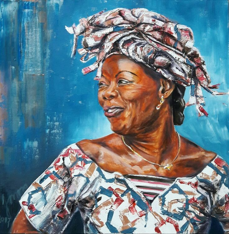 Caribbean woman Portrait in oilpaint,made by Jonna Sips