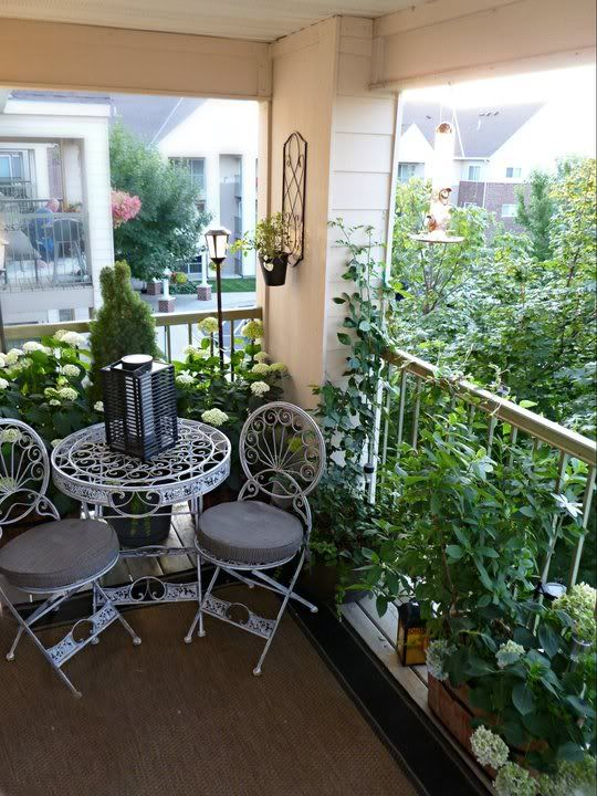 small patio.  I have a bistro set, but I like it in white.  Might just have to spray paint mine!