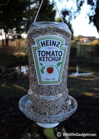 ketchup bottle bird feeder