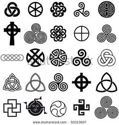 Celtic Symbols And Their Meanings | set of celtic symbols icons vector. tattoo design set. - 50313607
