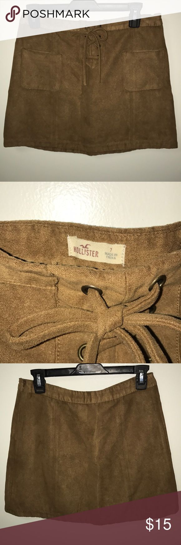 Hollister Skirt - Lace up Faux Suede skirt Comfortable stylish skirt! Has been worn twice and looks and feels brand new  Originally bought at Hollister for $40 I will pay for dry cleaner's to wash/dry/fold before shipping! Hollister Skirts A-Line or Full