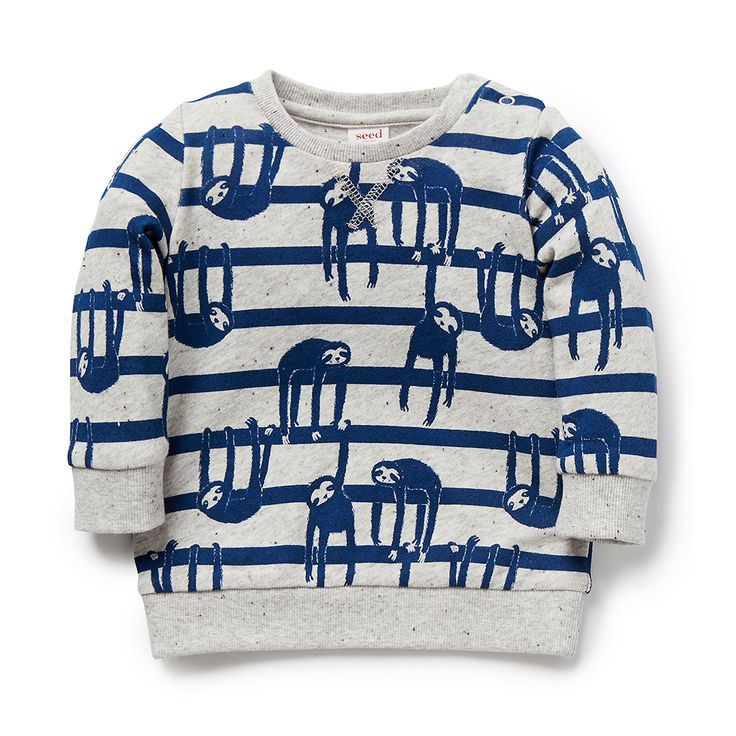 100% Cotton Sweater. French terry sweater with ribbed cuffs, hem and neck. Features all over sloth yardage print. Regular fitting silhouette with snaps on baby's left shoulder for easy dressing. Available in Overcast Marle.