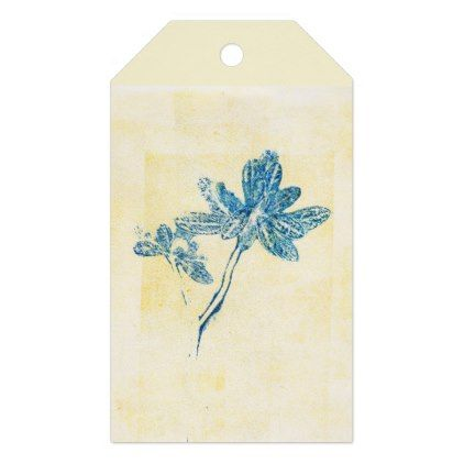 Monoprint Floral Blue 170263/1 Gift Tag - home gifts ideas decor special unique custom individual customized individualized