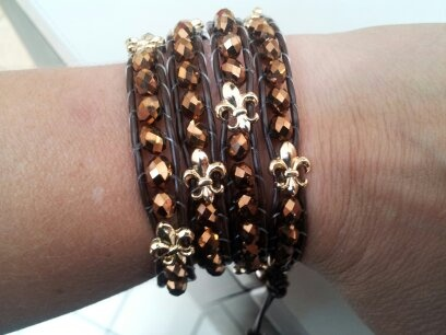 So cute! Wrap Fleur De Lis Bracelet for only $19.99 at Mind Body Soul in Valencia Town Center Mall