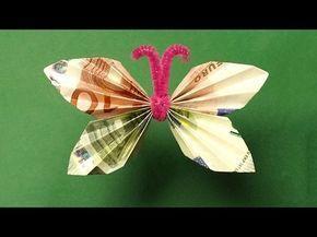 Geldscheine falten Schmetterling – Geldgeschenke basteln. Origami Tiere mit Geld… – Handarbeiten
