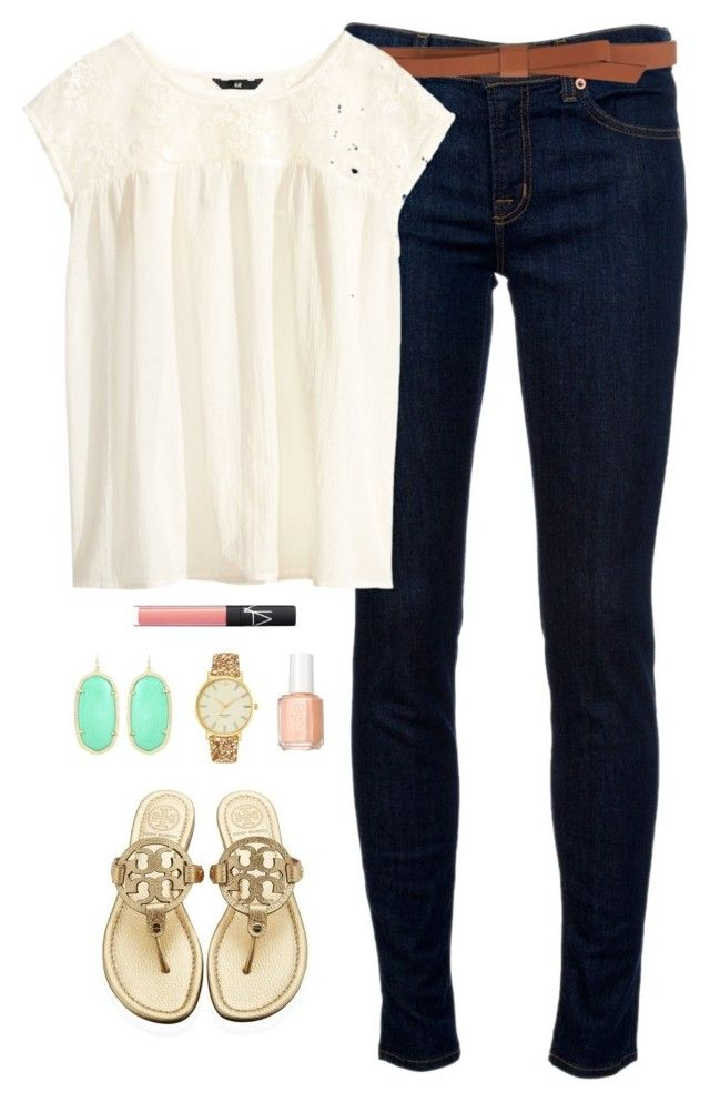 """""""first day of school"""" by classically-preppy ❤ liked on Polyvore featuring J Brand, Tory Burch, Essie, Ganni, H&M, Kendra Scott, Kate Spade and NARS Cosmetics"""