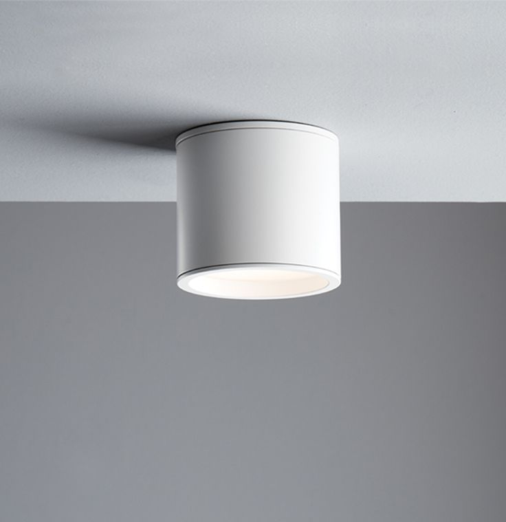 The Beacon Lighting LEDlux Surface CNC Aluminium 80mm IP44 weatherproof rated surface mounted dimmable downlight kit in white, great for use on concrete ceilings
