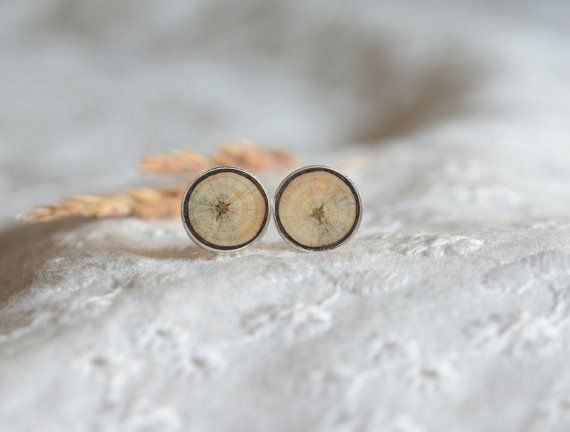 Wood in silver earrings circle round wooden ear by MyPieceOfWood