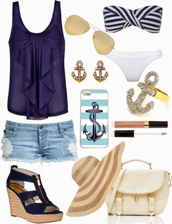 Summer essentials...what every girl needs for a walk in the beach (switch out wedges for sandals to be more comfortable)...