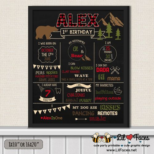 Lumberjack First Birthday Chalkboard Sign - 1st Birthday Printable Sign - Lumberjack birthday party chalkboard sign