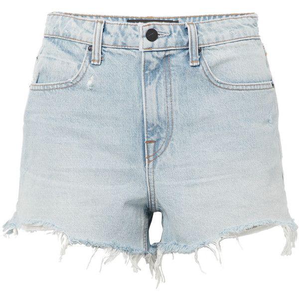 Alexander Wang Bite frayed denim shorts ($200) ❤ liked on Polyvore featuring shorts, light denim, jean shorts, cut-off jean shorts, alexander wang shorts, light blue shorts and bleached jean shorts