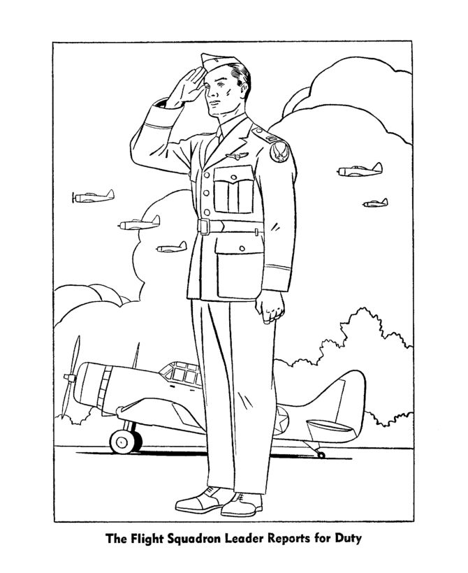 Coloring Pages For Veterans Day Printables : Veterans day coloring pages army air corps officer