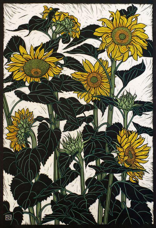 Sunflowers Newport - Hand coloured linocut on handmade Japanese paper, Rachael Newling