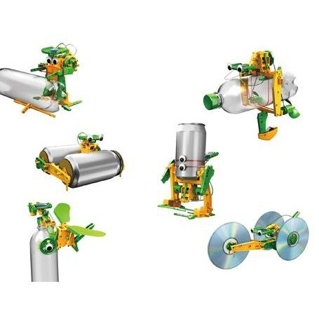 Maak 14 verschillende modellen met deze set en gebruik hierbij vanuit de keuken gerecyclede onderdelen zoals lege PET flessen, oude bier of frisdrank blikjes en gebruikte cd's.
