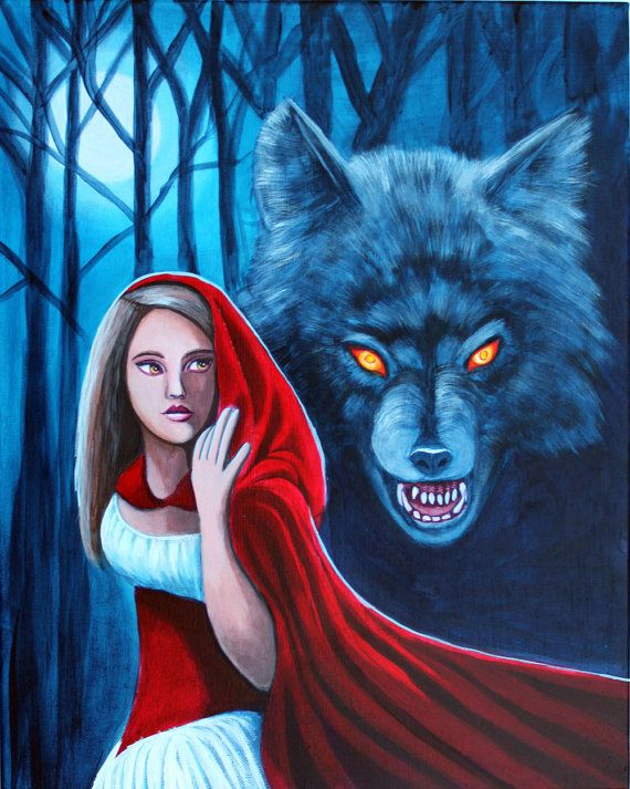 """Red Riding Hood and the Big Bad Wolf Original Fairy Tale Fantasy Painting 16""""x20"""" Acrylic Painting on Gallery Wrapped Canvas by Anntwanette"""