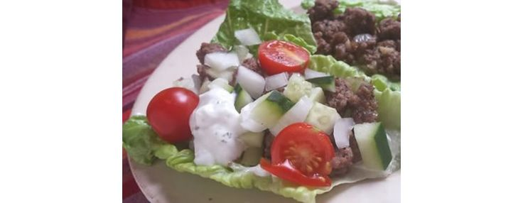 quick lunch from leftover hamburger - gyro wrap