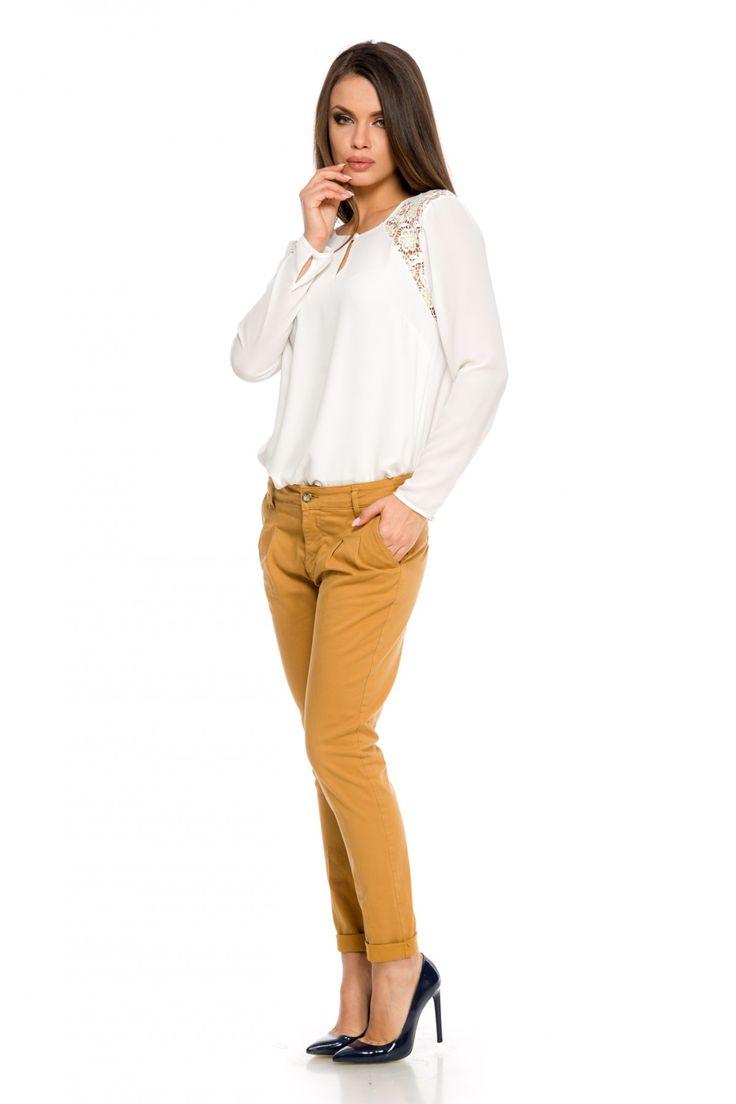 Pantaloni Key Caramel 139 lei Pantaloni casual