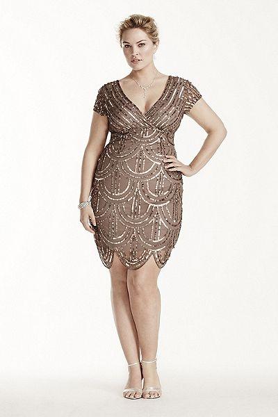 Rehearsal Dinner Dress - Short Mesh Dress with All Over Sequins 290560I