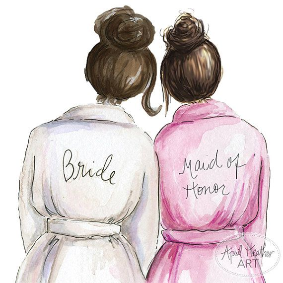Thank you Bridesmaid PDF Dark Brunette Bun di aprilheatherart