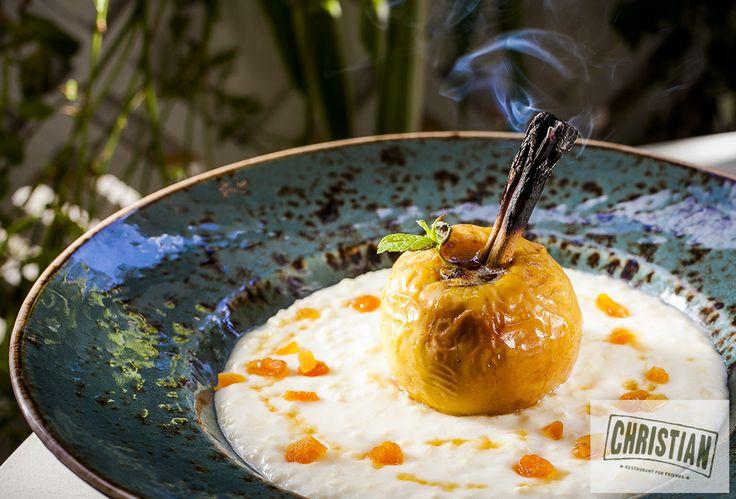 Доброе утро: пшенная каша на кокосовом молоке с запеченным яблоком с корицей на завтрак от ресторана Christian
