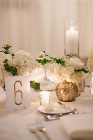 Gold Table Numbers Reception Decor | Sophisticated Black   White Wedding featured on Elizabeth Anne Designs | photography by http://twobirdsphoto.com (via @Elizabeth Anne Designs)