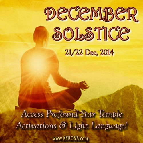 This RARE December 2014 Solstice (21/22 Dec) you can ACCESS AN INDIVIDUAL 20 MINUTE SESSION WITH KYRONA - to catapult your spiritual growth & evolution! This is an opportunity like no other - to be open to receive the light codes beaming our way from Galactic Center. Learn all about this vitally important Celestial Power Portal & register if inspired now! #spiritualevent, #astrology, #solstice, #decembersolstice, #wintersolstice, #summersolstice, #kyrona