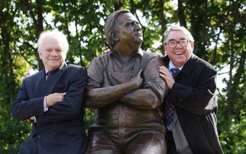 ronnie barker statue with David and Ronnie