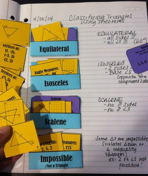 Using triangle theorems to sort into triangle classifications - Geometry Activity