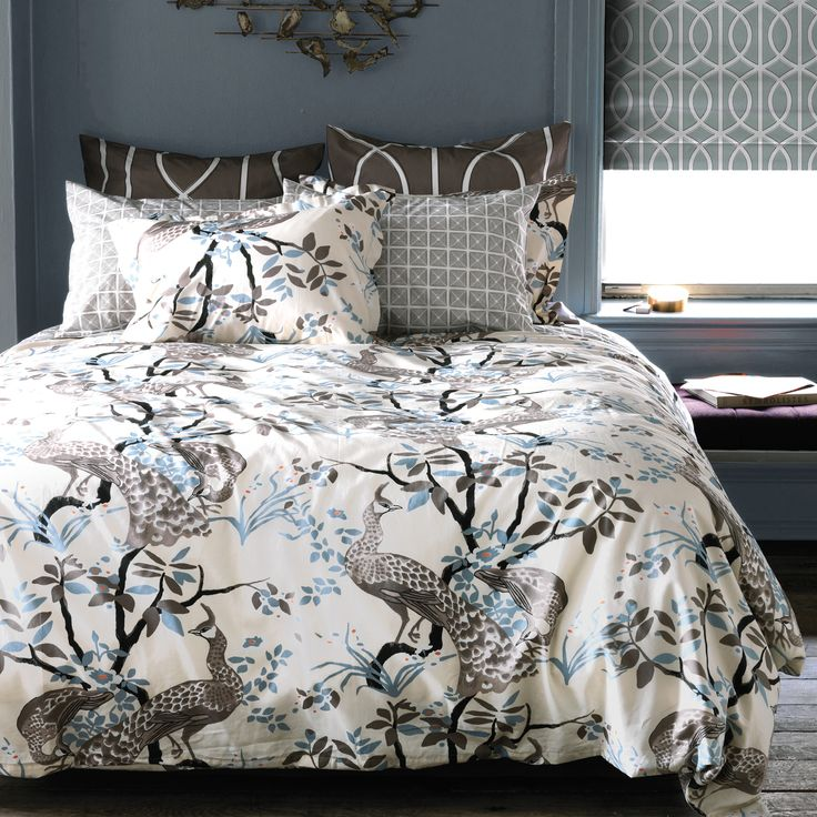Dwellstudio Peacock Dove Duvet Zinc Door Bedding Duvet