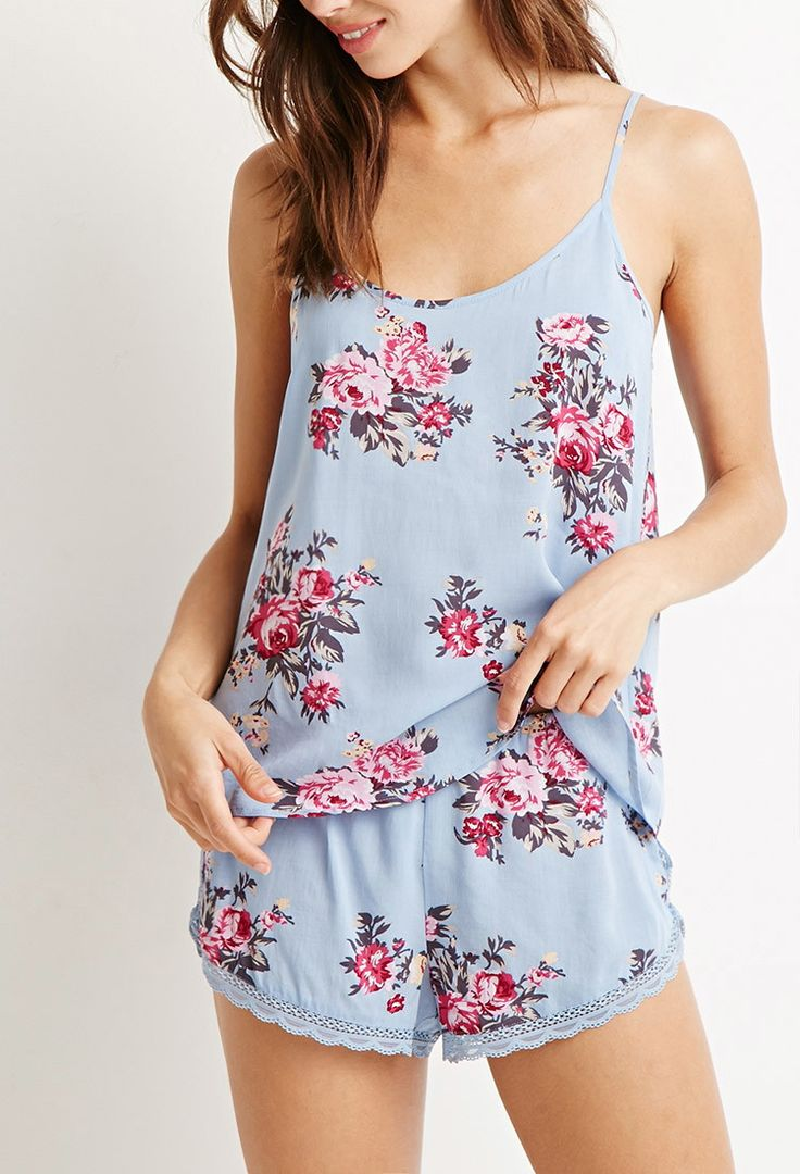 Floral Lace-Trimmed PJ Set | Forever 21 - 2000132201