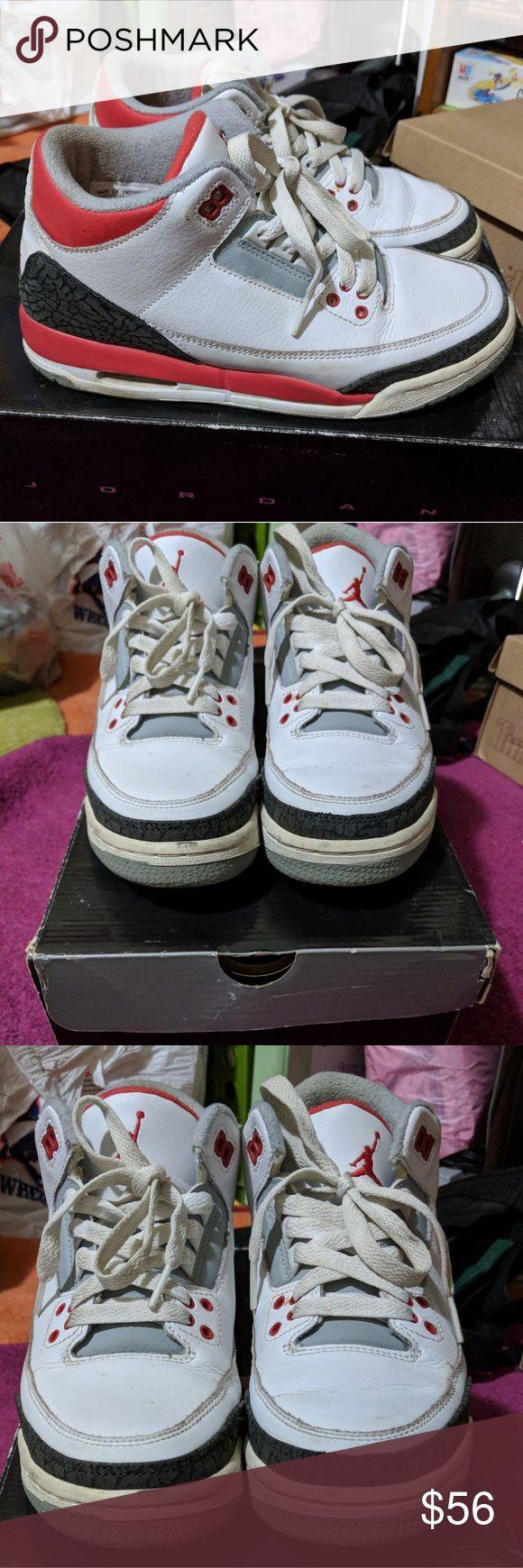 Air Jordan Retro 3s Authentic Air Jordan retro 3s (kids). Size 5.5Y = women's 7. Used. Color: fire red, black, and white. Air Jordan Shoes Sneakers