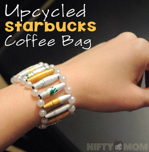 How to Upcycle a Starbucks Coffee Bag into a Gorgeous Bracelet. This is cool!
