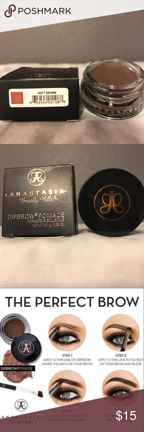Anastasia BH DIPBROW Pomade Eyebrow SOFT BROWN Anastasia BH DIPBROW Pomade Eyebrow SOFT BROWN   Colors available:  Ebony, Auburn, Blonde, Taupe, Chocolate, Dark Brown, Medium Brown and Soft Brown. Anastasia Beverly Hills Makeup