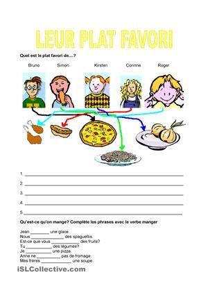 Les élèves doivent trouver le plat favori de chaque enfant.Dans un deuxième exercice, on doit conjuguer le verbe manger au présent.Si vous voulez utiliser d'autres fiches sur le sujet nourriture, vous pouvez les trouver ici: https://fr.islcollective.com/mypage/resources?Tags=nourriture&searchworksheet=GO&type=Printables&view=grid - Fiches FLE