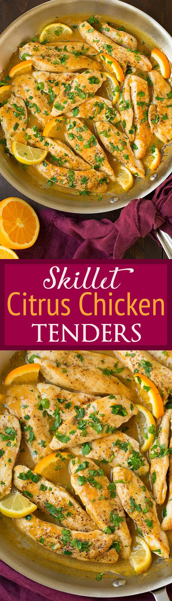 Skillet Citrus Chicken Tenders - easy and deliciously flavorful! Love the bright citrus flavor with the chicken!