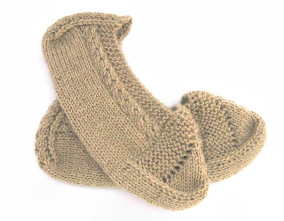 Hand knitted slippers dark beige slippers straw by OldTraditions