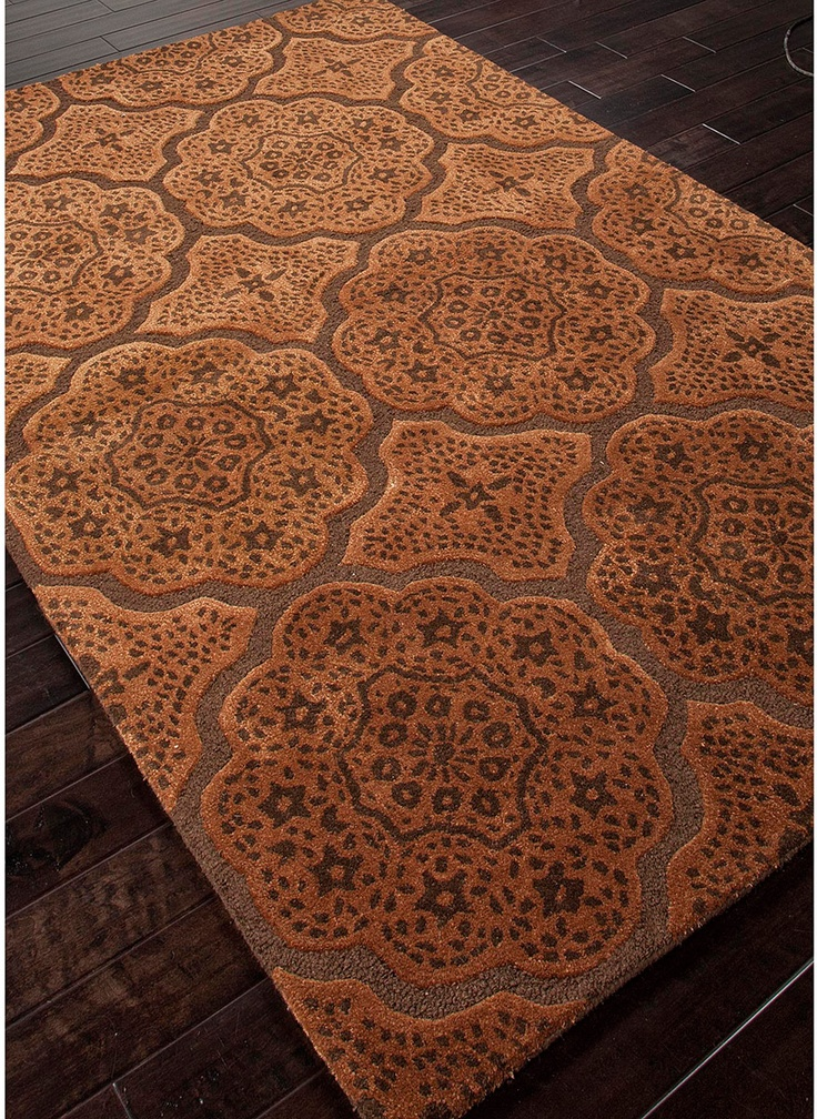 Copper medallion modern rug india for Rugs for dark floors