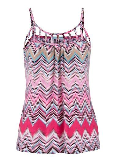 tank in chevron print with lattice neckline