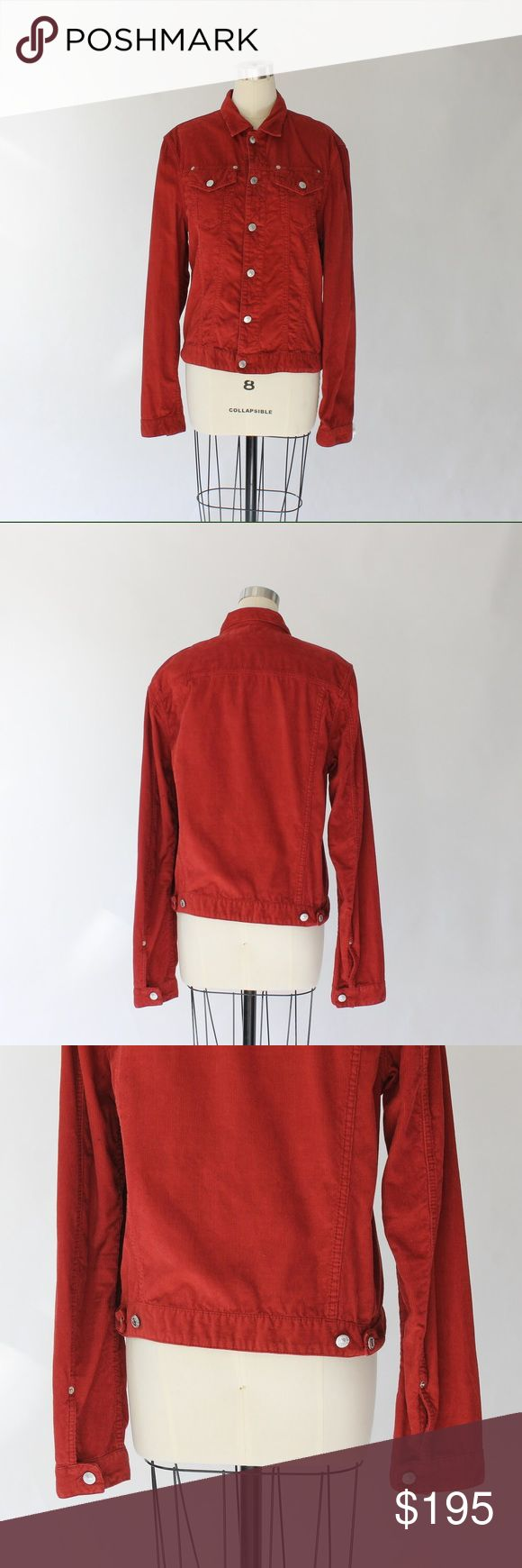 DSquared Red Corduroy Jacket DSquared red corduroy jacket has flap chest pockets, button cuffs, and button closures. Made in Italy. 100% Cotton. Excellent condition.  Size 50  US Size 14 DSQUARED Jackets & Coats