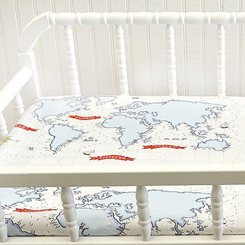 Around the world baby bedding in blue for World crib bedding