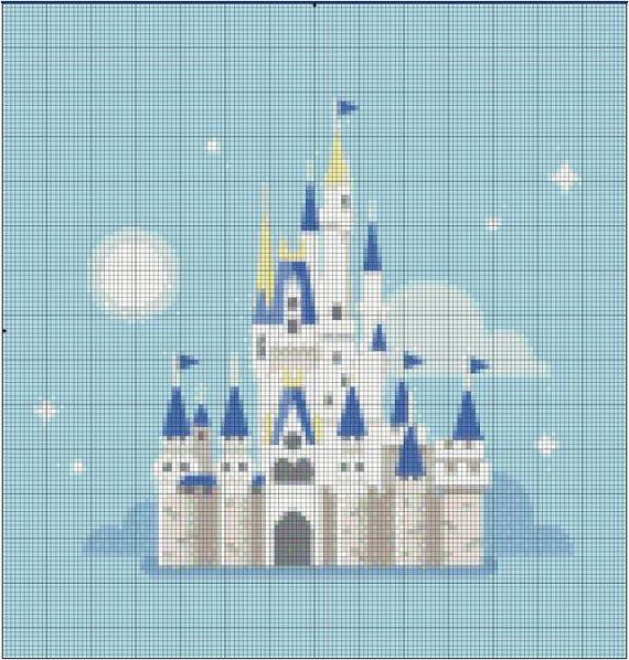 Walt Disney World Cinderella Castle Cross Stitch by StitchandaSong
