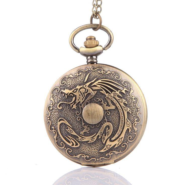 Yevita Retro Vintage Bronze Pocket Watch 4.5cm Dia with Chain Fire Dragon: Amazon.co.uk: Watches