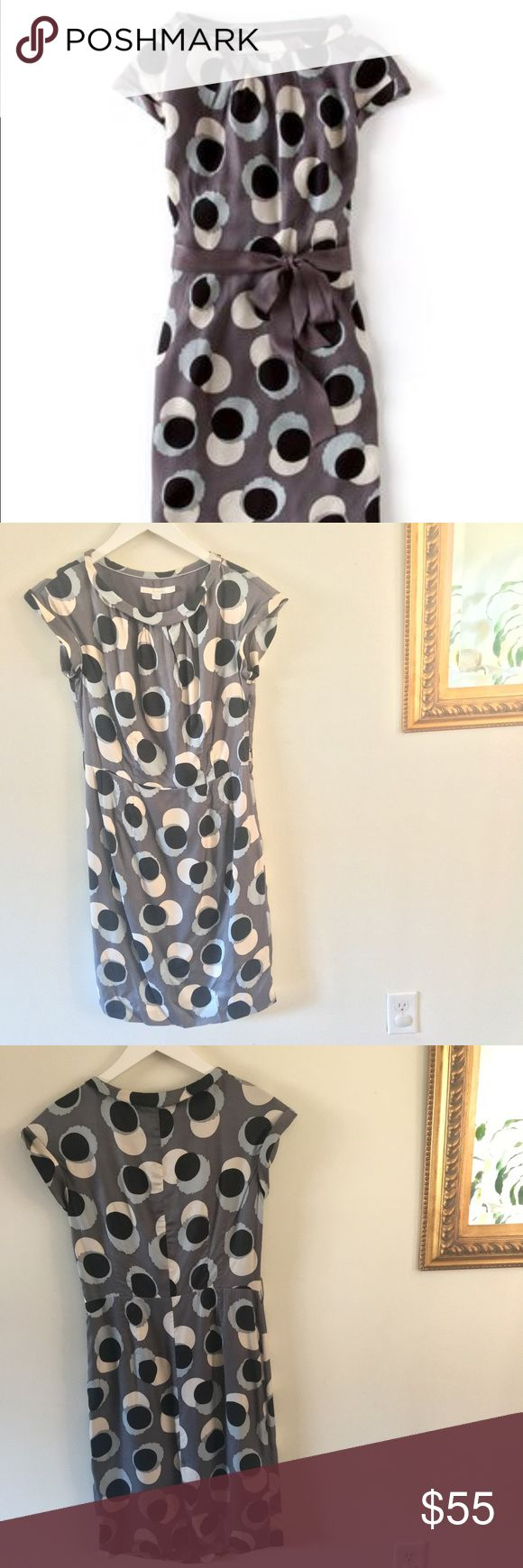 Printed Smart Day Dress | Biden Grey and blue circle print smart day dress by Boden. Last photo shown to showcase silhouette (red color unavailable). Satin belt is missing but can be easily replaced (or used without). Great roll neckline and sleeves. Great condition. No stains or tears otherwise. Boden Dresses